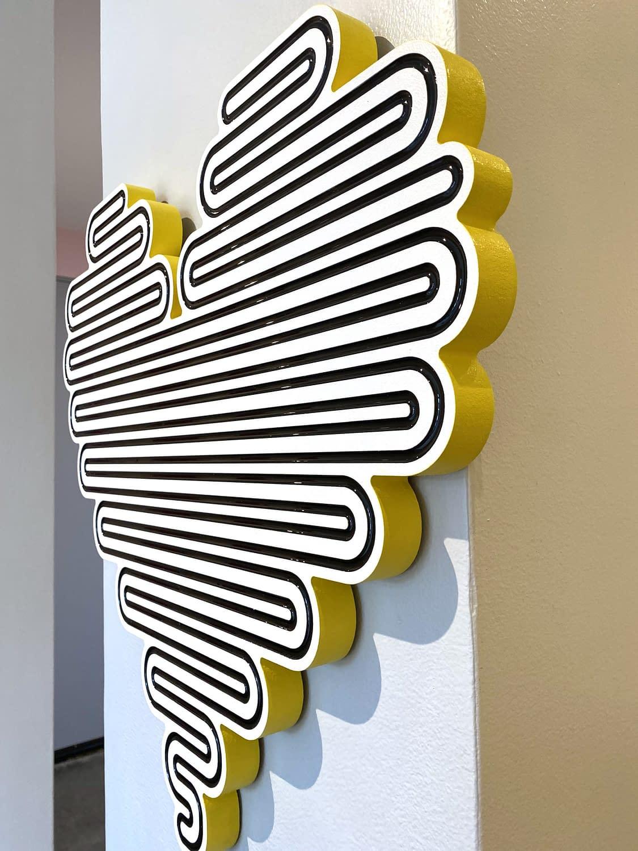 jenna krypell, joanne artman gallery, unraveling hearts, wall sculpture, neon