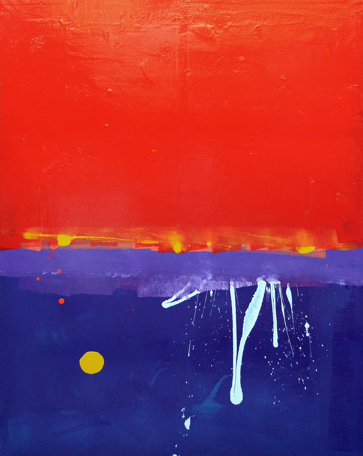Red, Red, Red Sky With White Squiggle and Yellow Blob Painting