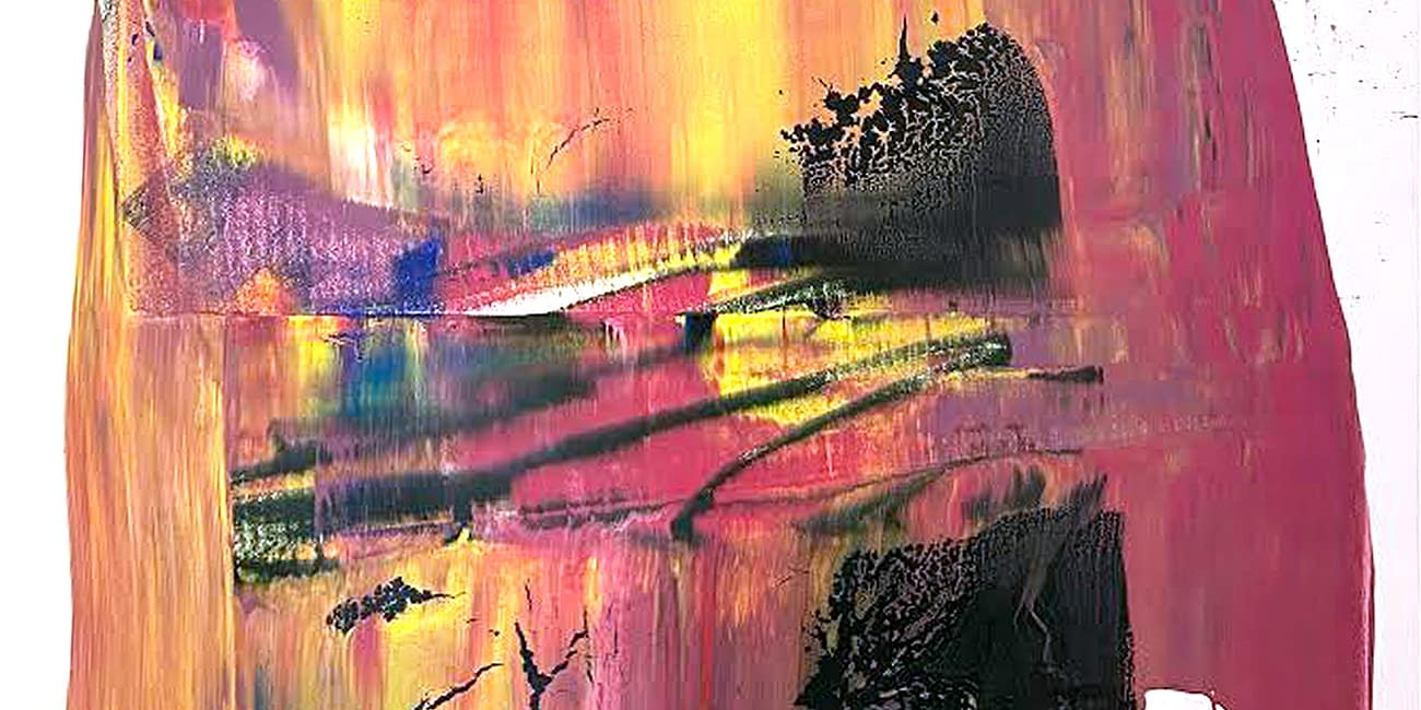 super duper pinky yellow scrape with dark green blob on top painting anthony hunter