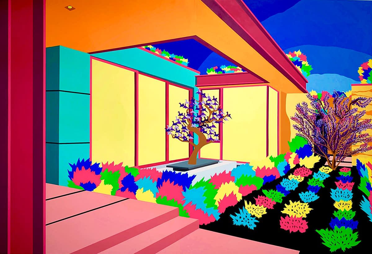 Beverly_Hills_Saturated_Michael_Callas_spray_paint_and_stencil_on_canvas_90_x_133_in