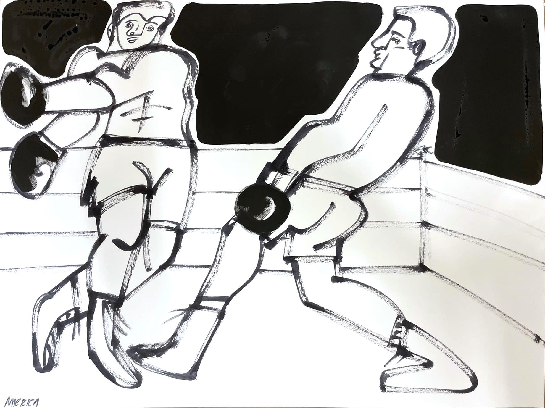 boxer ii, america martin, ink on paper, black and white figurative