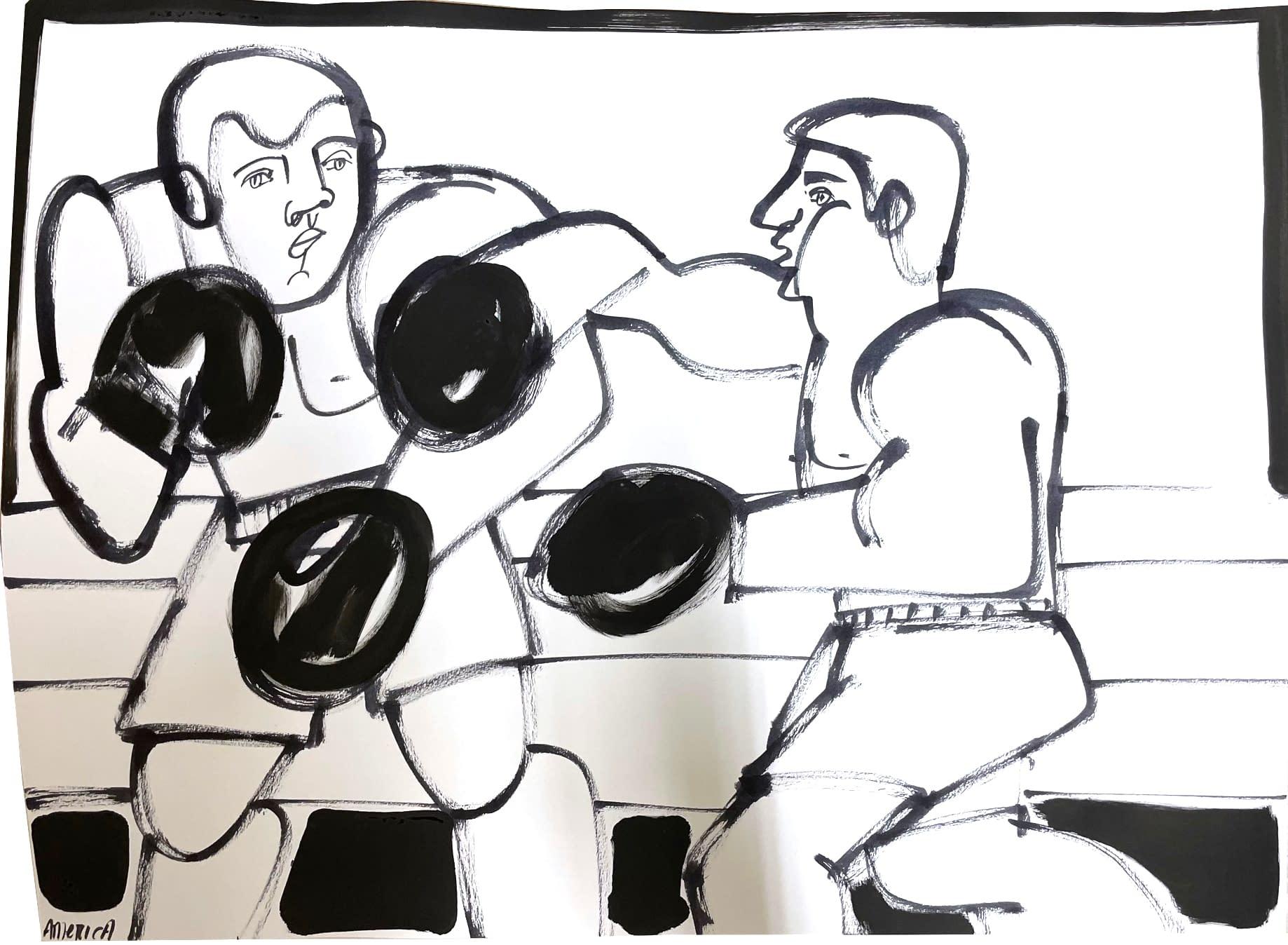 boxer i, america martin, ink on paper, black and white figurative
