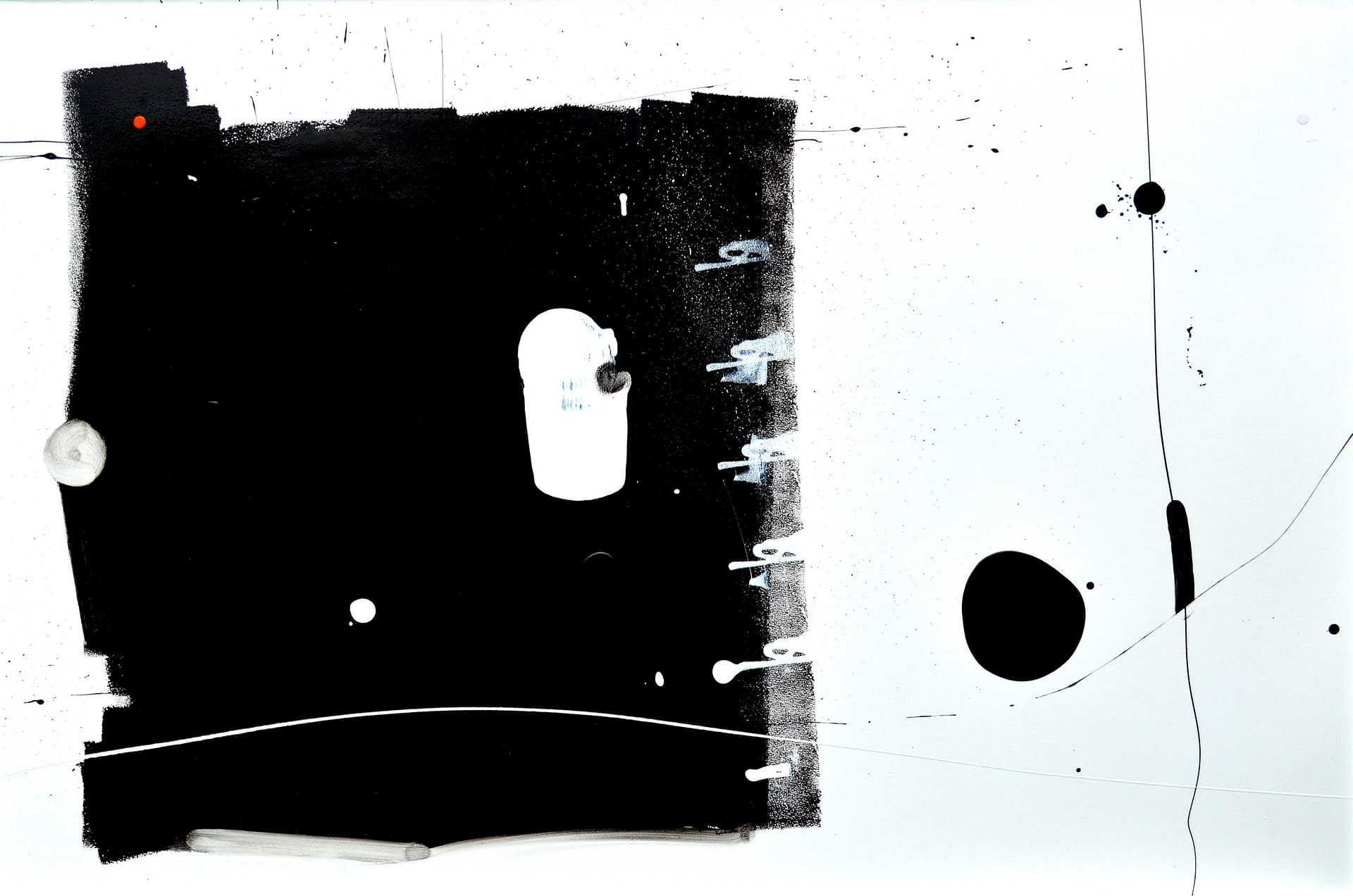 Curious Big Black Square Running Away from Black Blob Over There Painting anthony hunter