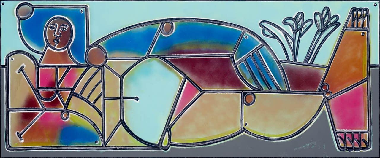 Dusk_and_Two_Irises_America_Martin_Oil_Acrylic_on_Canvas_35_x_85