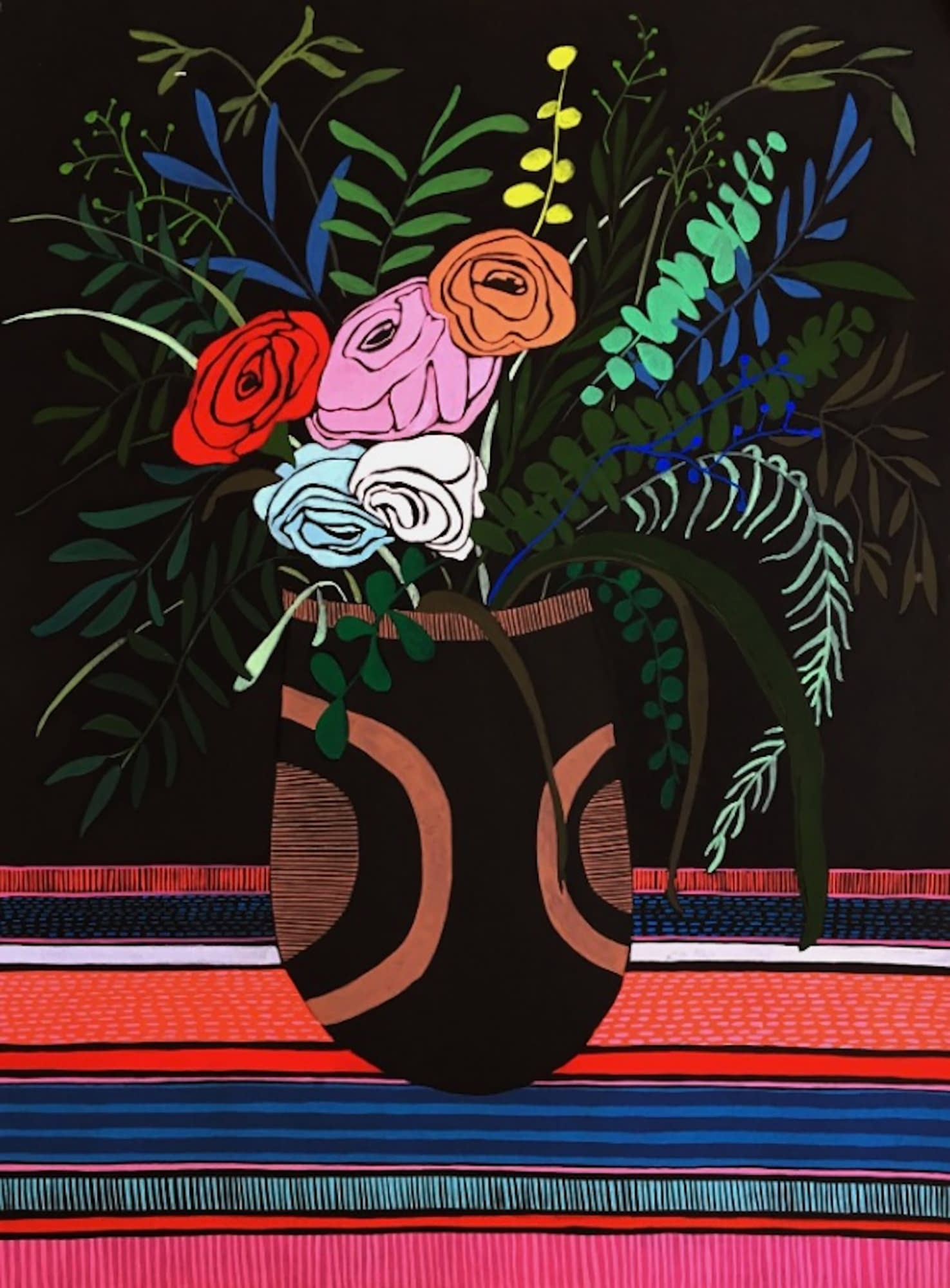 Flowers_2_mary_finlayson_Gouache_on_Paper-22_16.5_inches_unframed