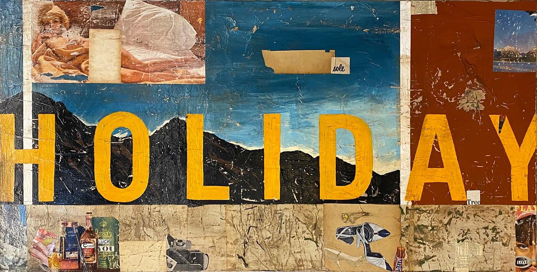 greg miller holiday acrylic collage gloss varnish on panel joanneartmangallery