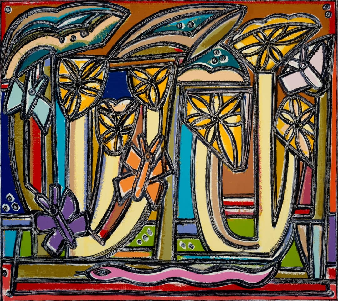 In_the_Garden_Under_Leaves_Its_Still_Beautiful_America_Martin_Oil_Acrylic_on_Canvas_42.25_x_47