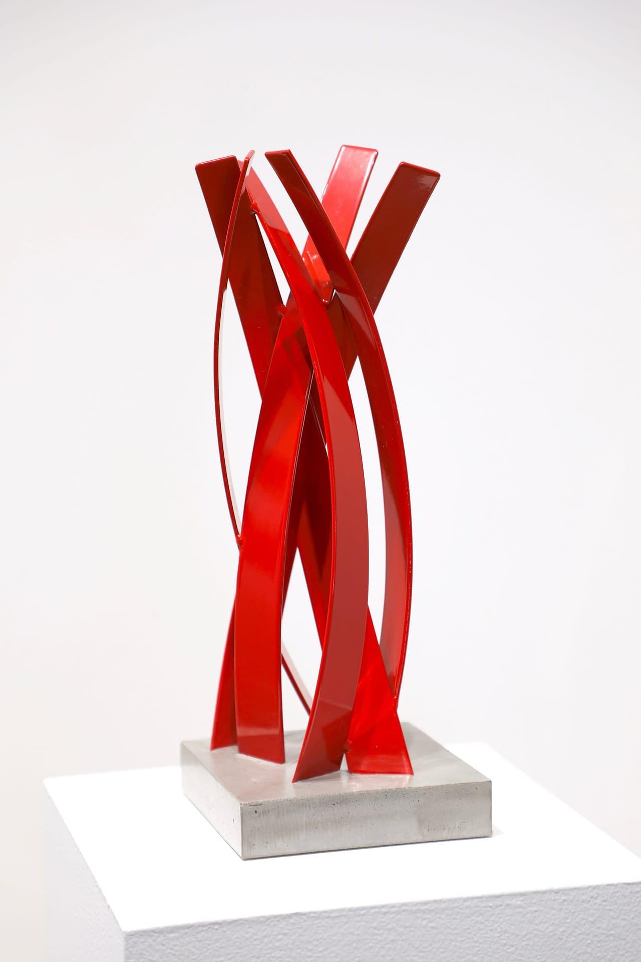 matt devine, sculpture, study, steel with powdercoat, red sculpture, abstract sculpture