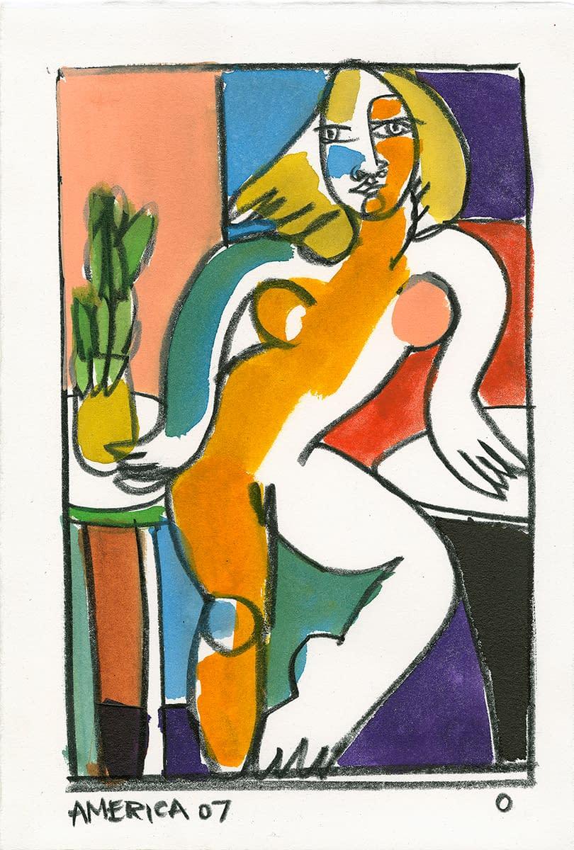 america martin, ink on paper, figurative art, nude art, portraiture