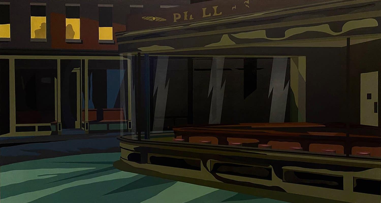Night_Hawks_Michael_Callas_spray_paint_and_stencil_on_canvas_43_x_79.35