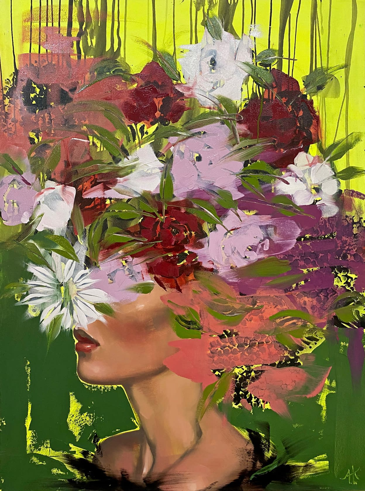 anna kincaide joanneartman gallery love forever oil on canvas figurative abstract floral