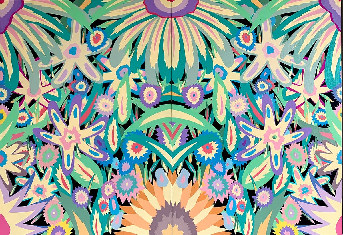 Pastel_Flowers_Diptych_Michael_Callas_spray_paint_and_stencil_on_canvas_44_x_30