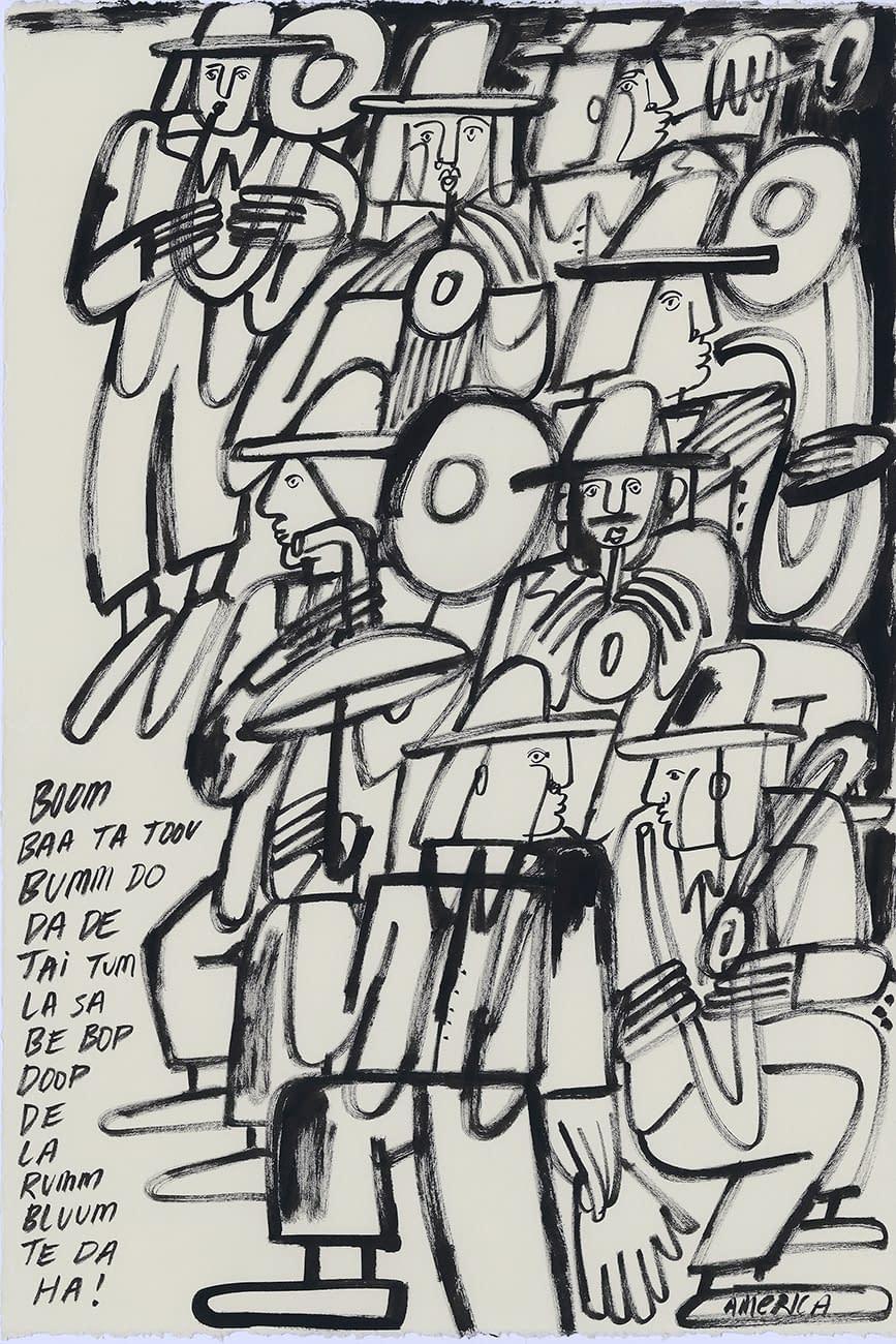 america martin, study, ink on paper, musicians, figurative art