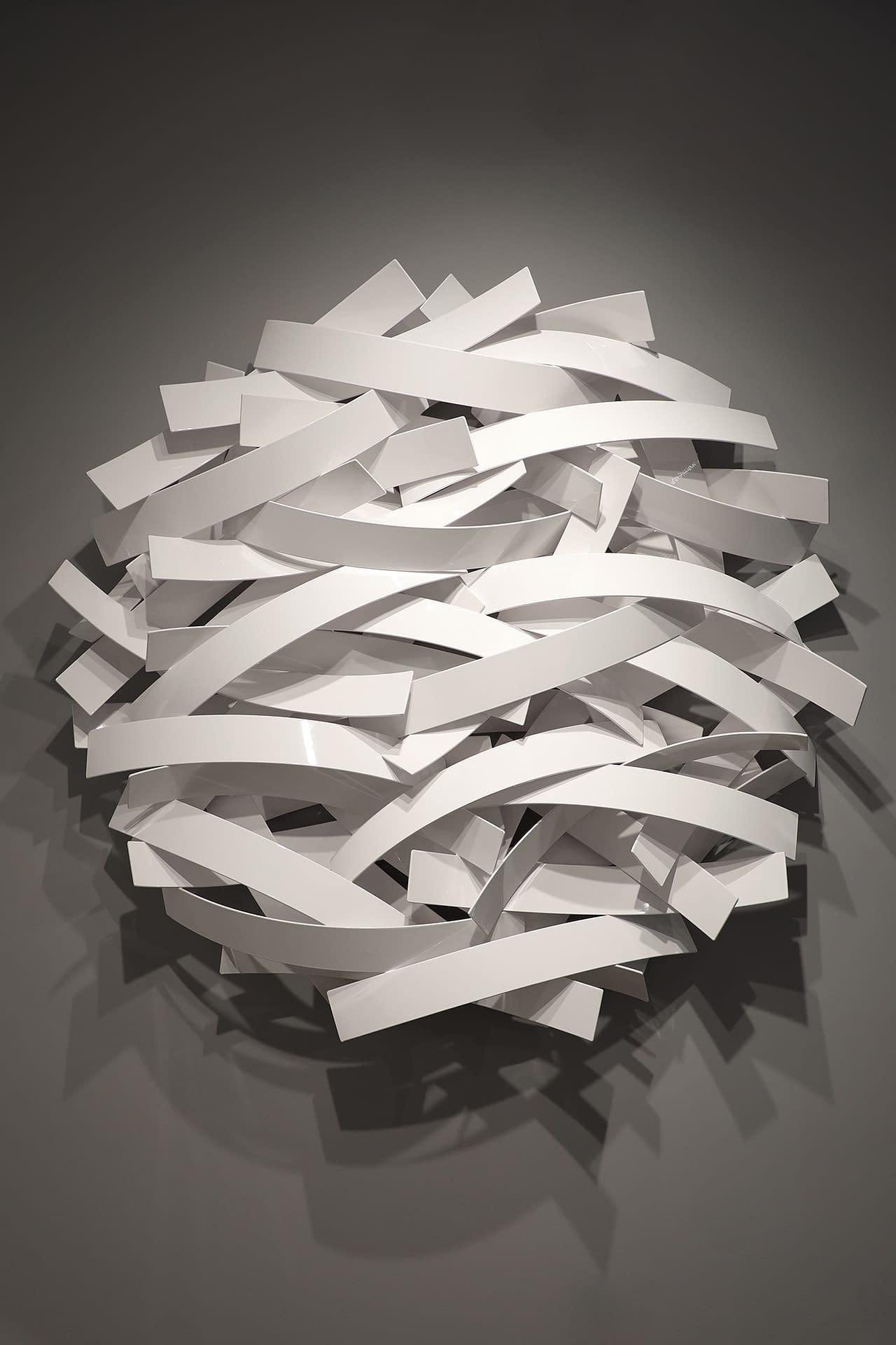 matt devine, swift, aluminum with powdercoat, abstract sculpture, wall sculpture, outdoor art