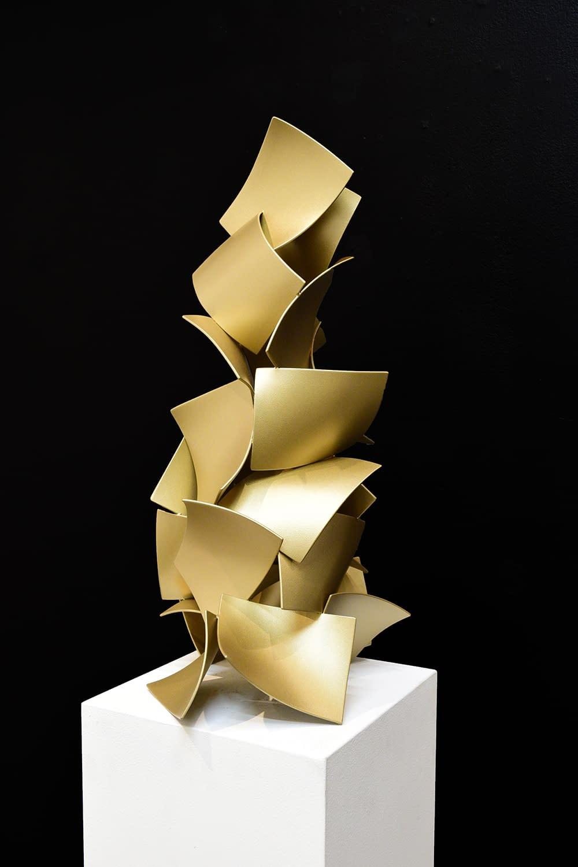 matt devine, steel with powdercoat, abstract sculpture, metallic sculpture, totem