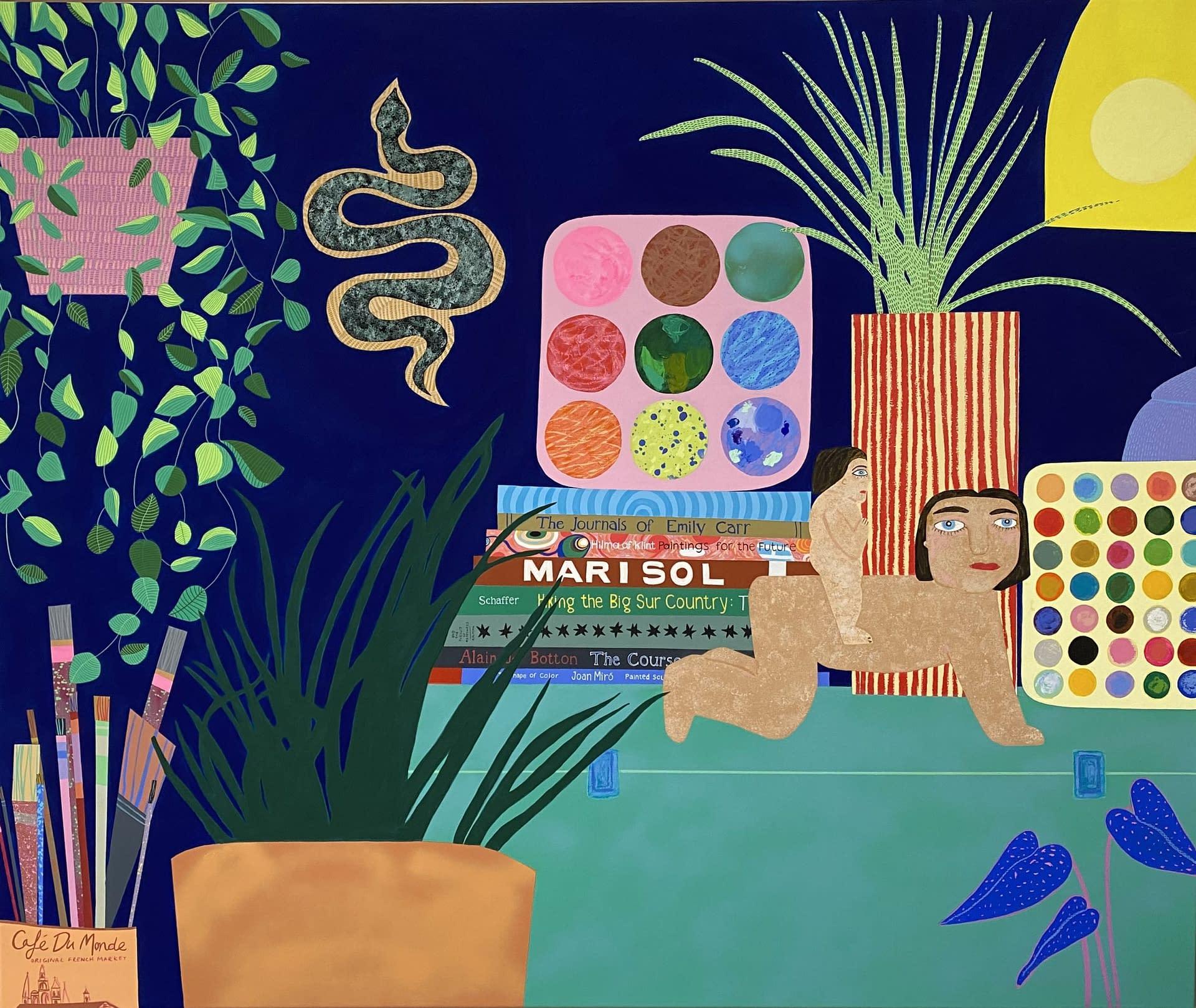 mary finlayson joanneartmangallery 2021 arrival gouache on canvas, spray paint, interiors, still life