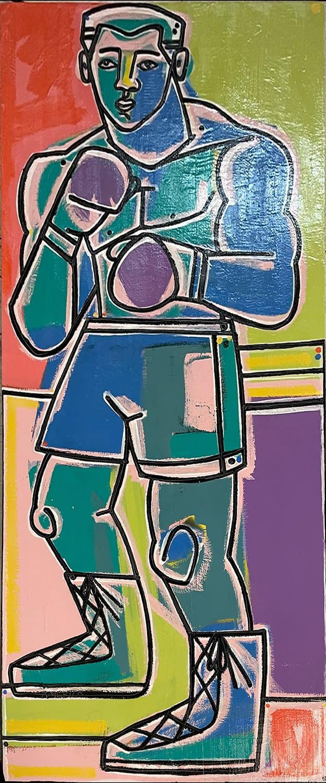 america martin, boxer, figurative art, bright colors, joanne artman gallery