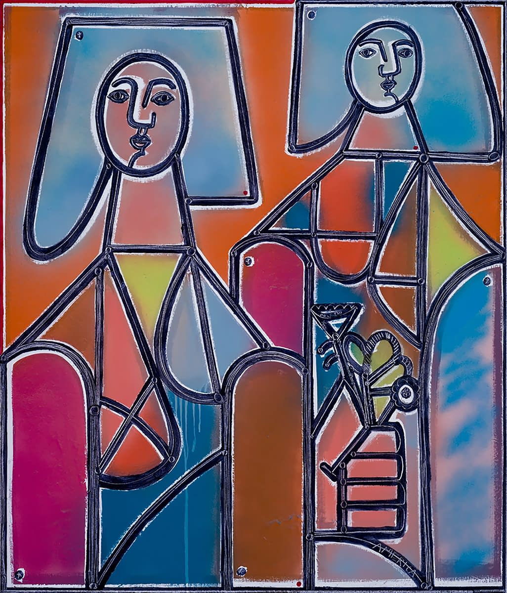 Two_Women_Walk_and_One_Gathers_Flowers_America_Martin_Oil_and_Acrylic_on_Canvas_42x36