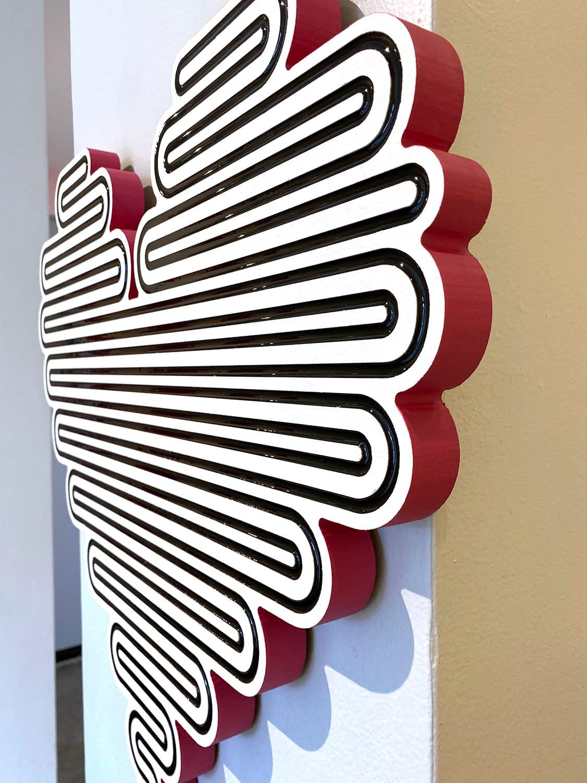 jenna krypell, unraveling heart, hot pink, joanne artman gallery, abstract wall sculpture, pop, mdf, resin, enamel