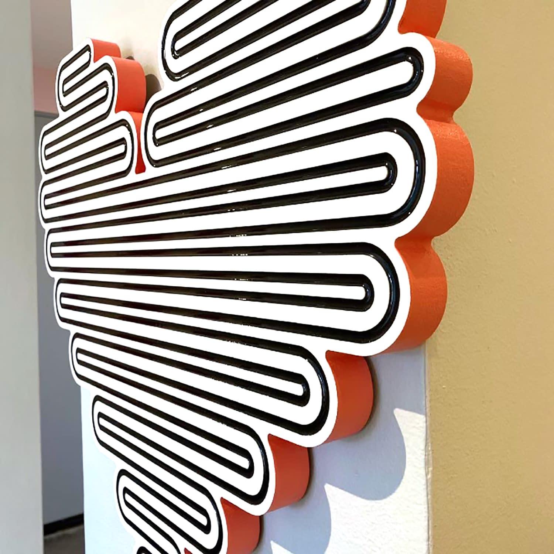 jenna krypell, joanne artman gallery, unraveling heart orange, mdf, resin, enamel, abstract wall sculpture