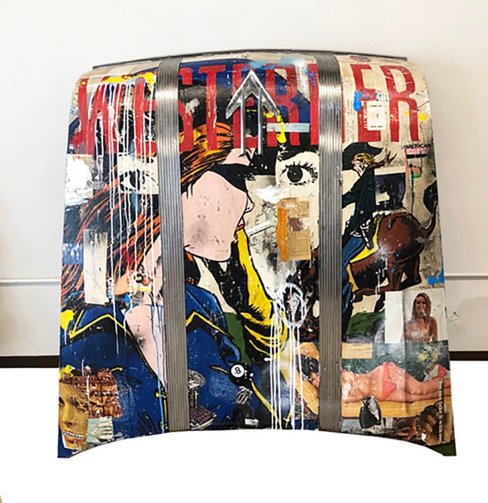 greg miller, westerner, pontiac hood, acrylic, collage, mixed media, joanne artman gallery