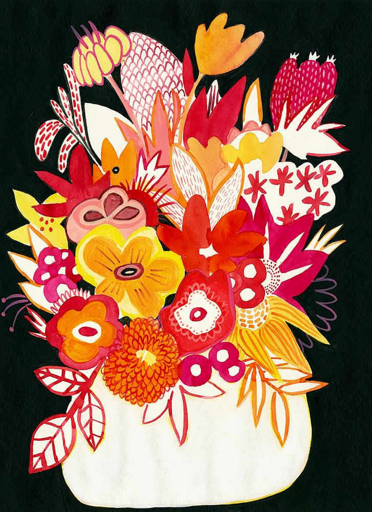 White_Vase_at_Night_Mary_Finlayson_Gouache_on_Paper-22×16.5_inches_unframed