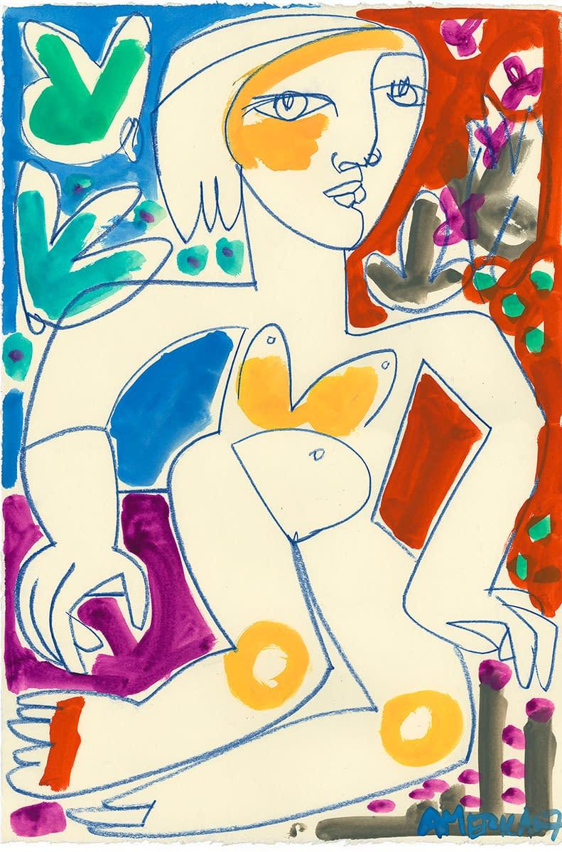 america martin, figurative art, nude, work on paper, pastel, ink