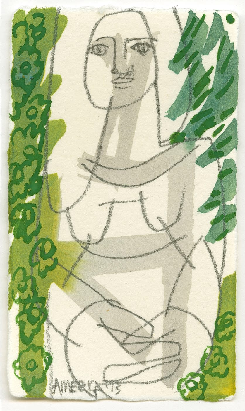 america martin, woman surrounded by green flowers, nude, figurative, floral