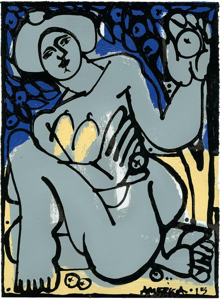 america martin, woman in gray and blue, figurative, nude