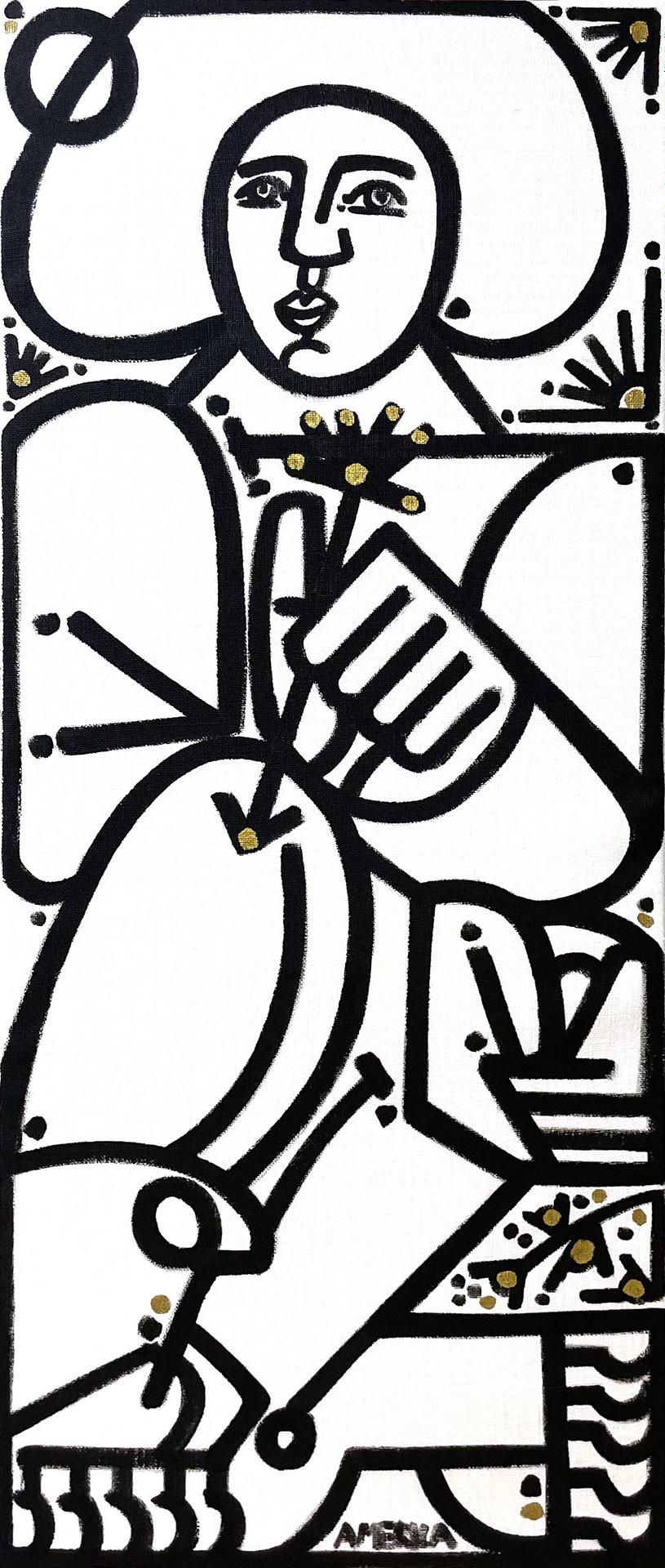 america martin, joanne artman gallery, linen painting, black and white, figurative