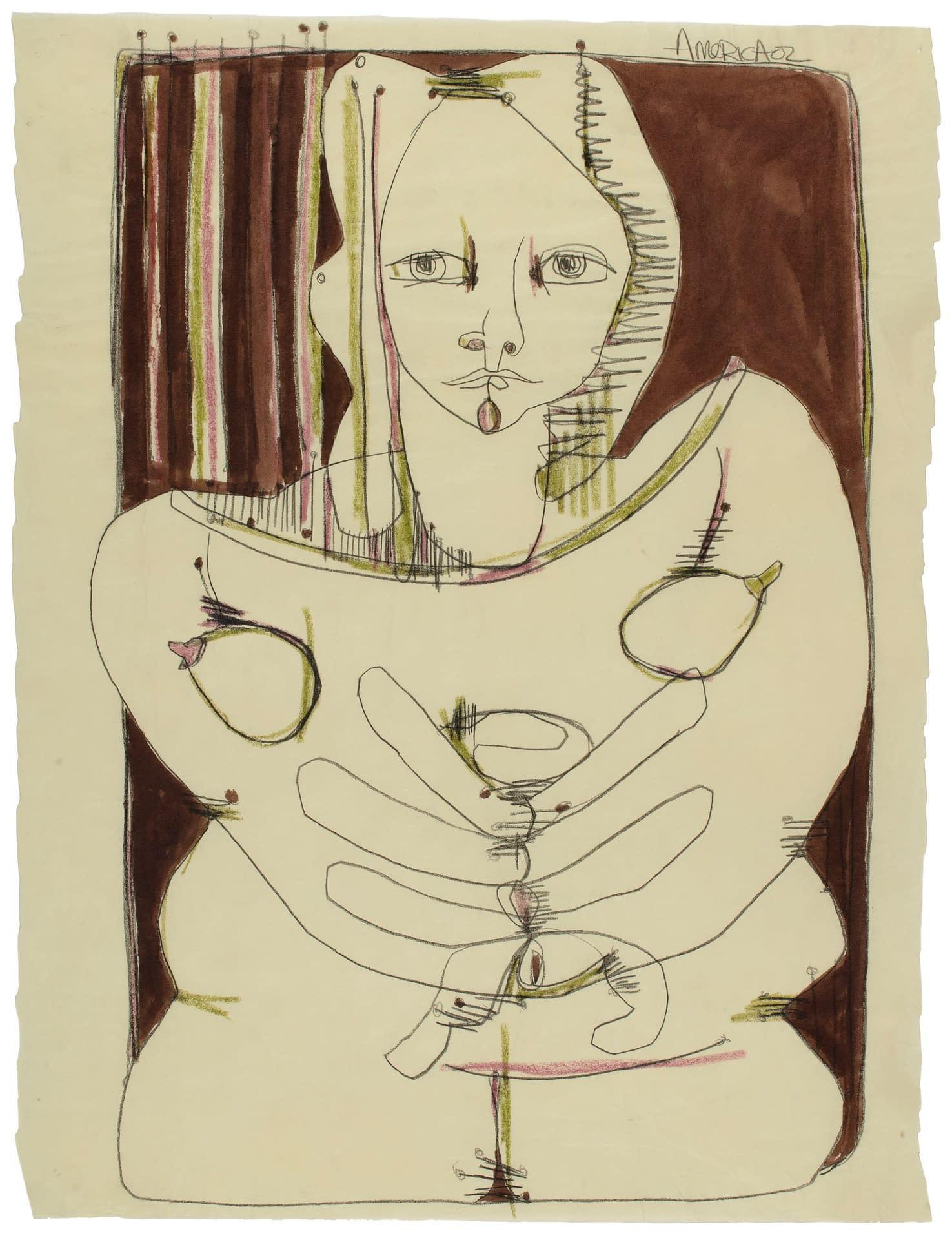 america martin, figurative art, portraiture, paper