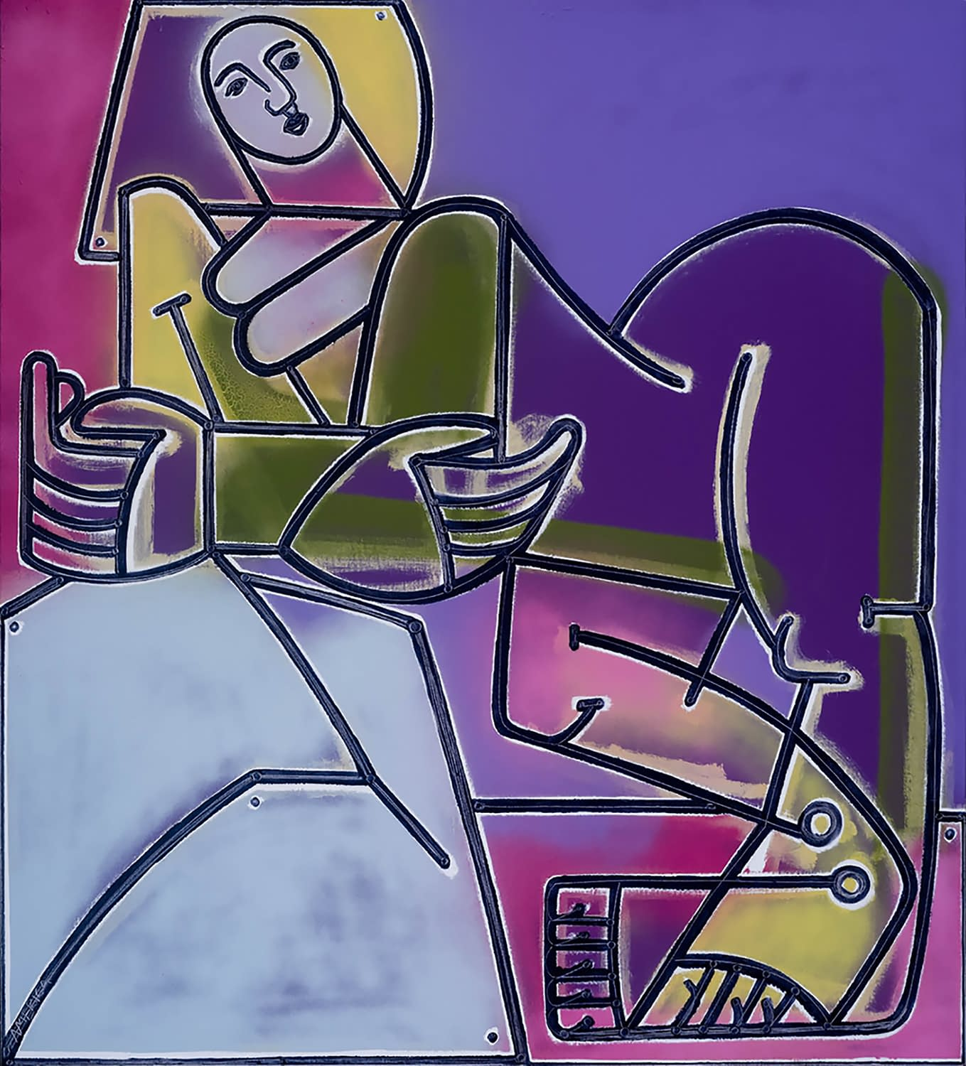 Woman_Rests_and_Watches_the_Sky_America_Martin_Oil_and_Acrylic_on_Canvas_53x48