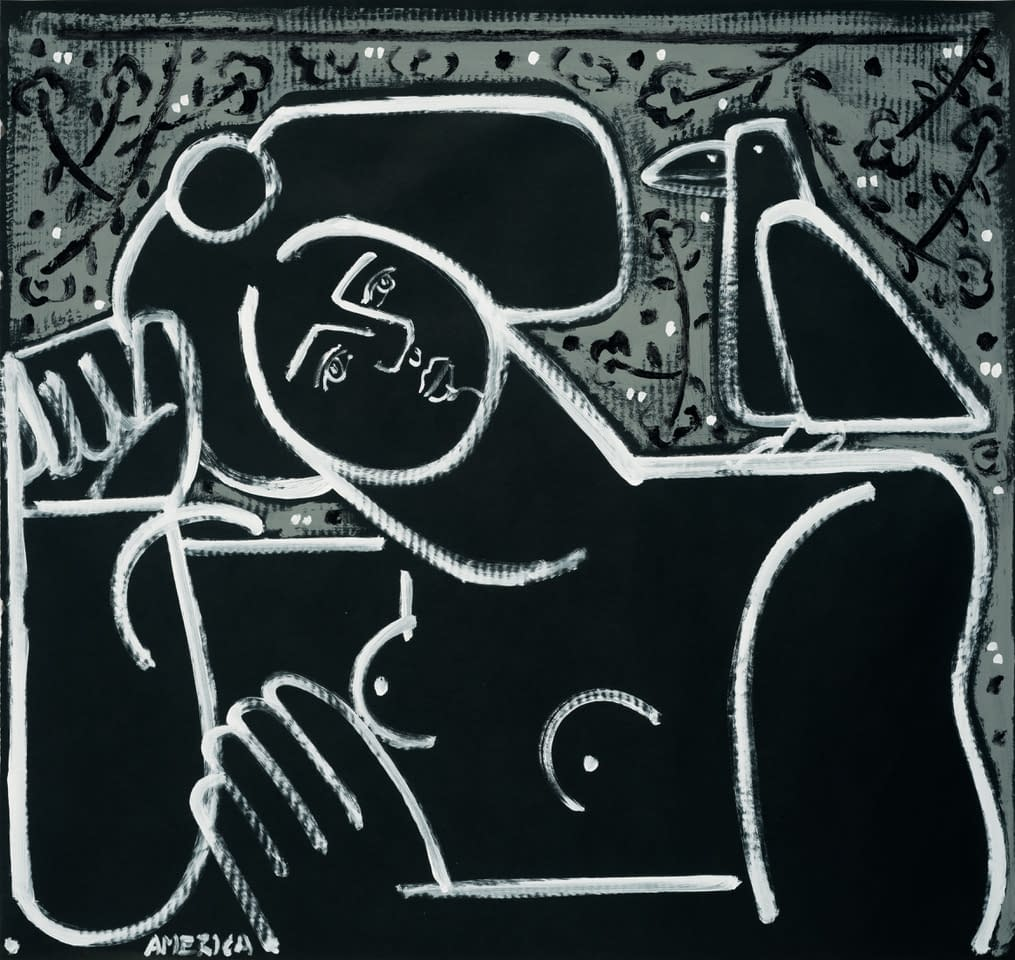 Women_and_Black_Crow_America_Martin_Acrylic_on_Paper_38.25_40.5