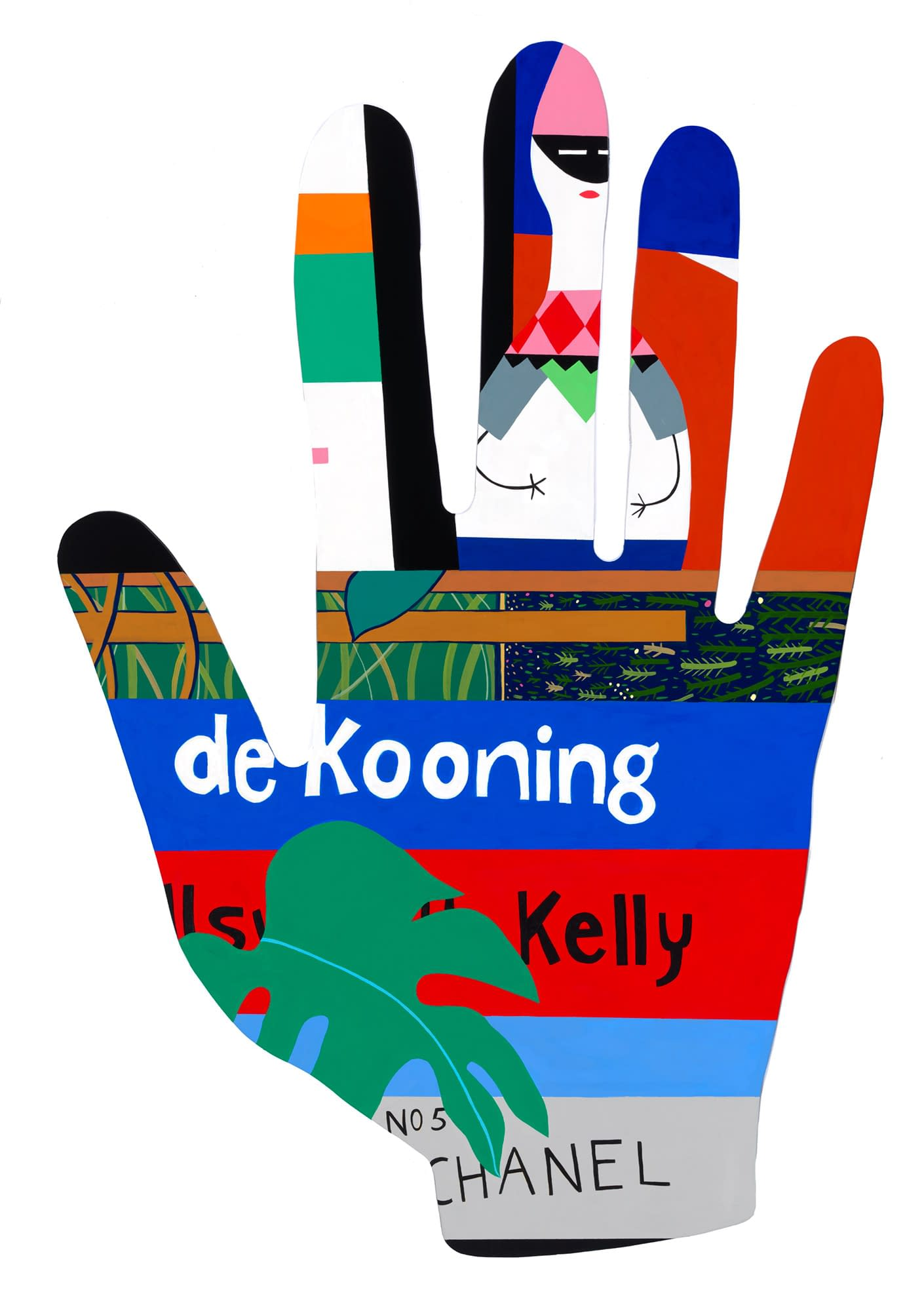 deKooning_Book_with_Girard_Doll_Mary_Finlayson_Vinyl_Paint_and_Gouache_on_Maple_46_x_31