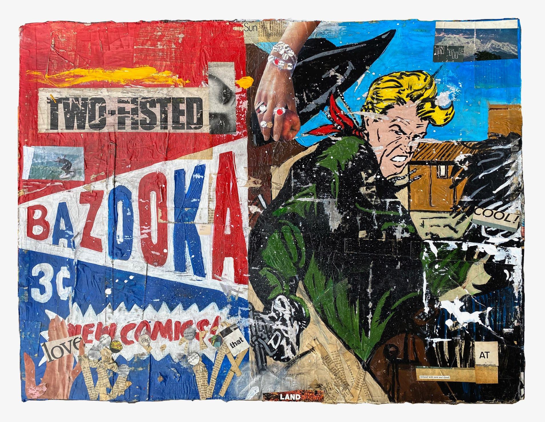 Bazooka_Greg_Miller_Acrylic_Collage_on_Paper_23_x_30