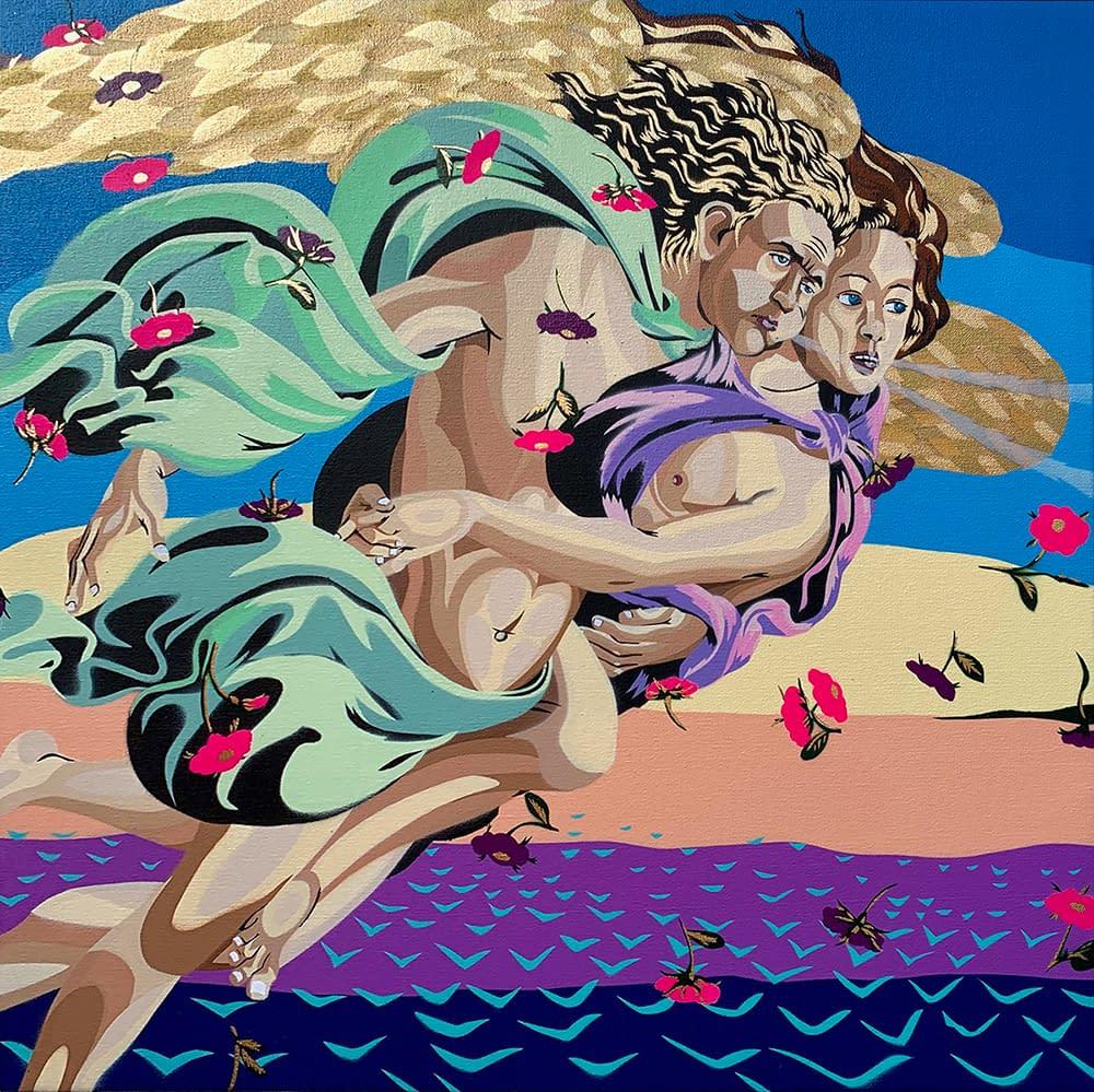 Birth_of_Venus_II_in_Orange_spray_paint_and_stencil_on_canvas_23_x_23_michael_callas