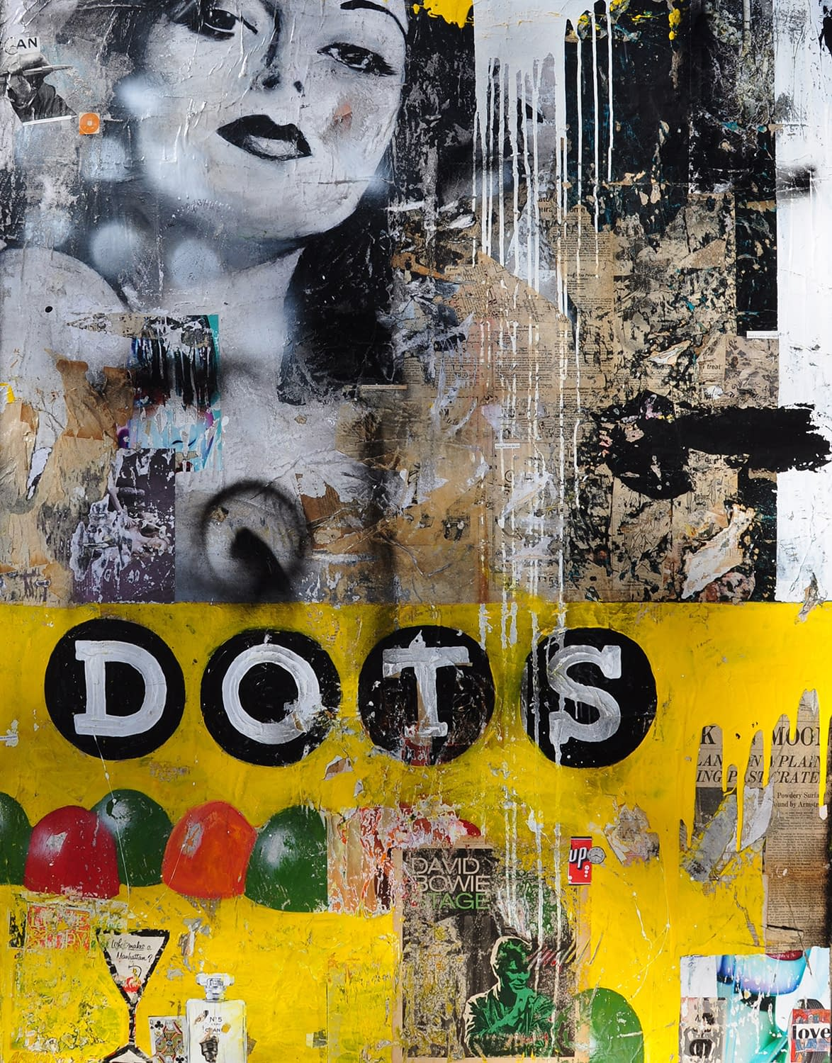 Dots_Greg_Miller_Acrylic_Collage_Paper_Resin_on_Canvas_48_x_60