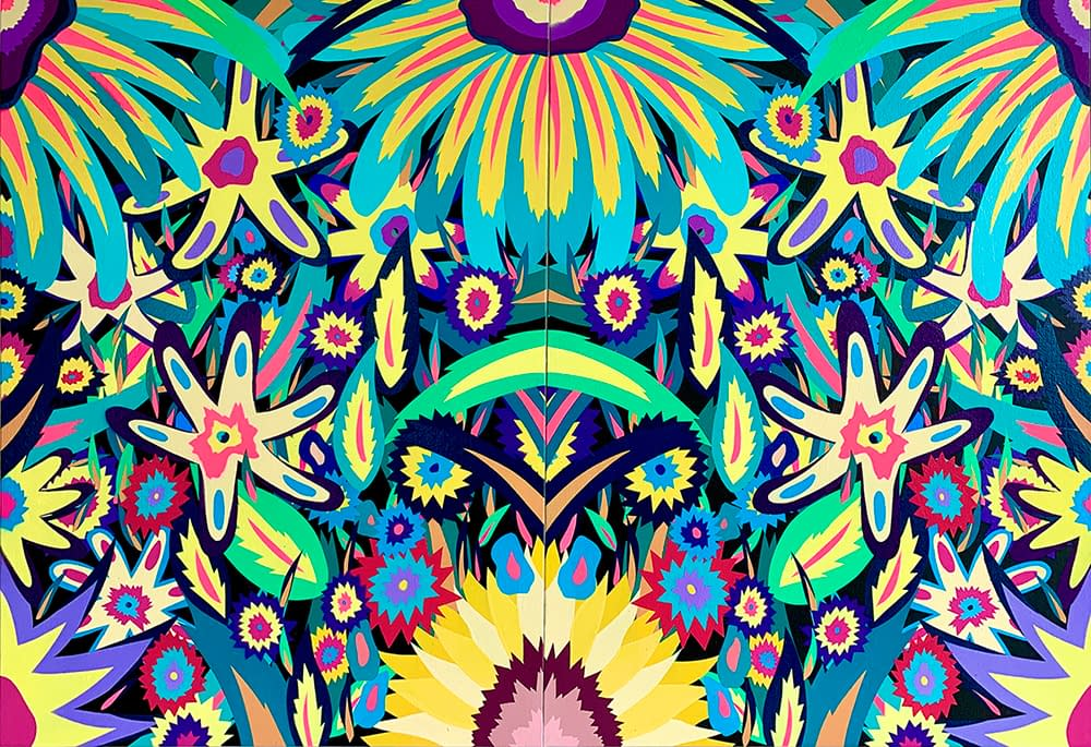 Neon_Flowers_Glow_in_the_Dark_Diptych_Michael_Callas_spray_paint_and_stencil_on_canvas_44_x_30