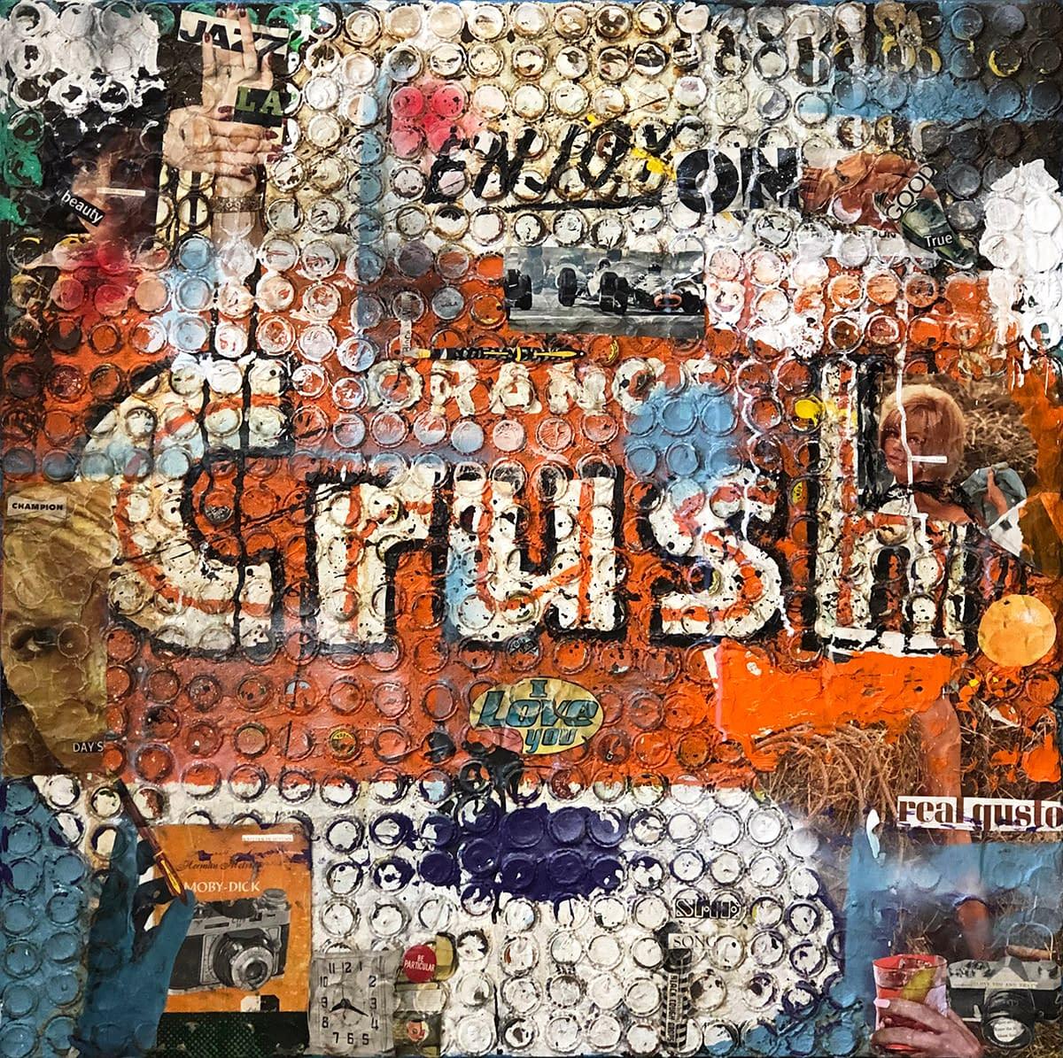 Orange_Crush_Greg_Miller_Acrylic_Paint_Collage_Bottle_Cap_on_Panel_36_x_36