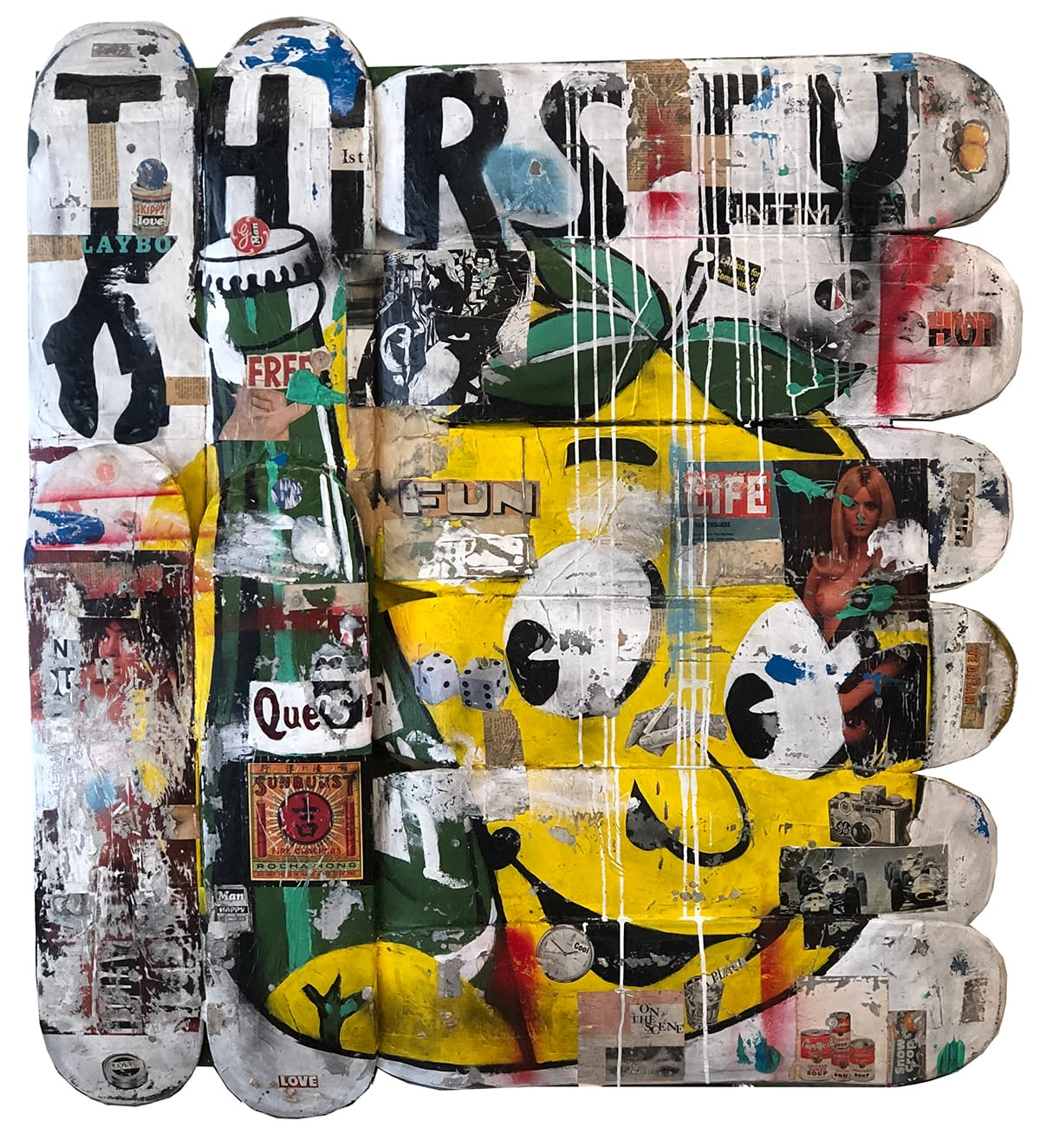 Thirsty_Greg_Miller_Acrylic_Paint_Spray_Paint_Collage_Paper_on_Skateboard_Planks_51_x_48