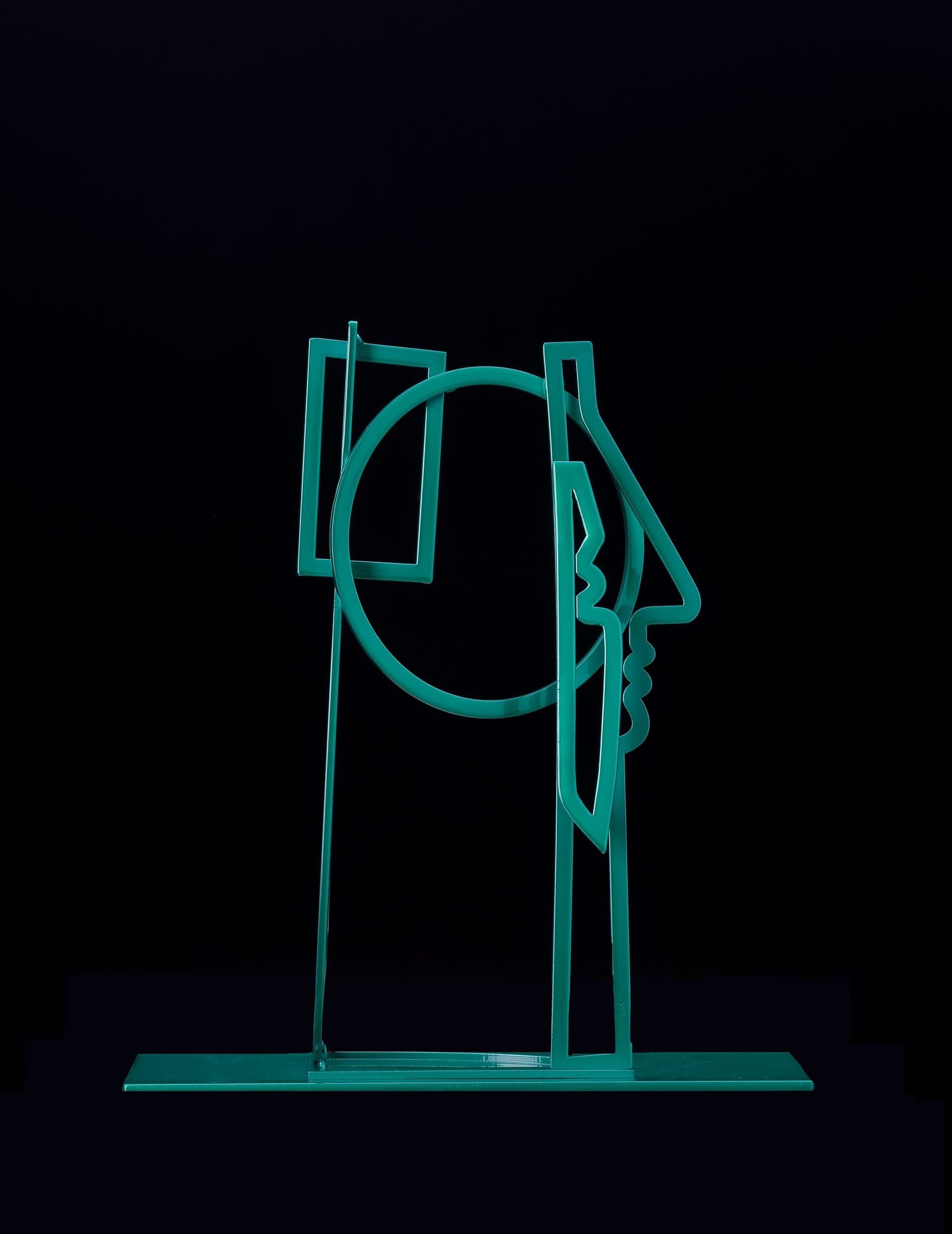 Woman_with_Her_Hair_Down_Powder_Coated_Steel_in_Emerald_Green_on_Metal_Base_17.5x16x4