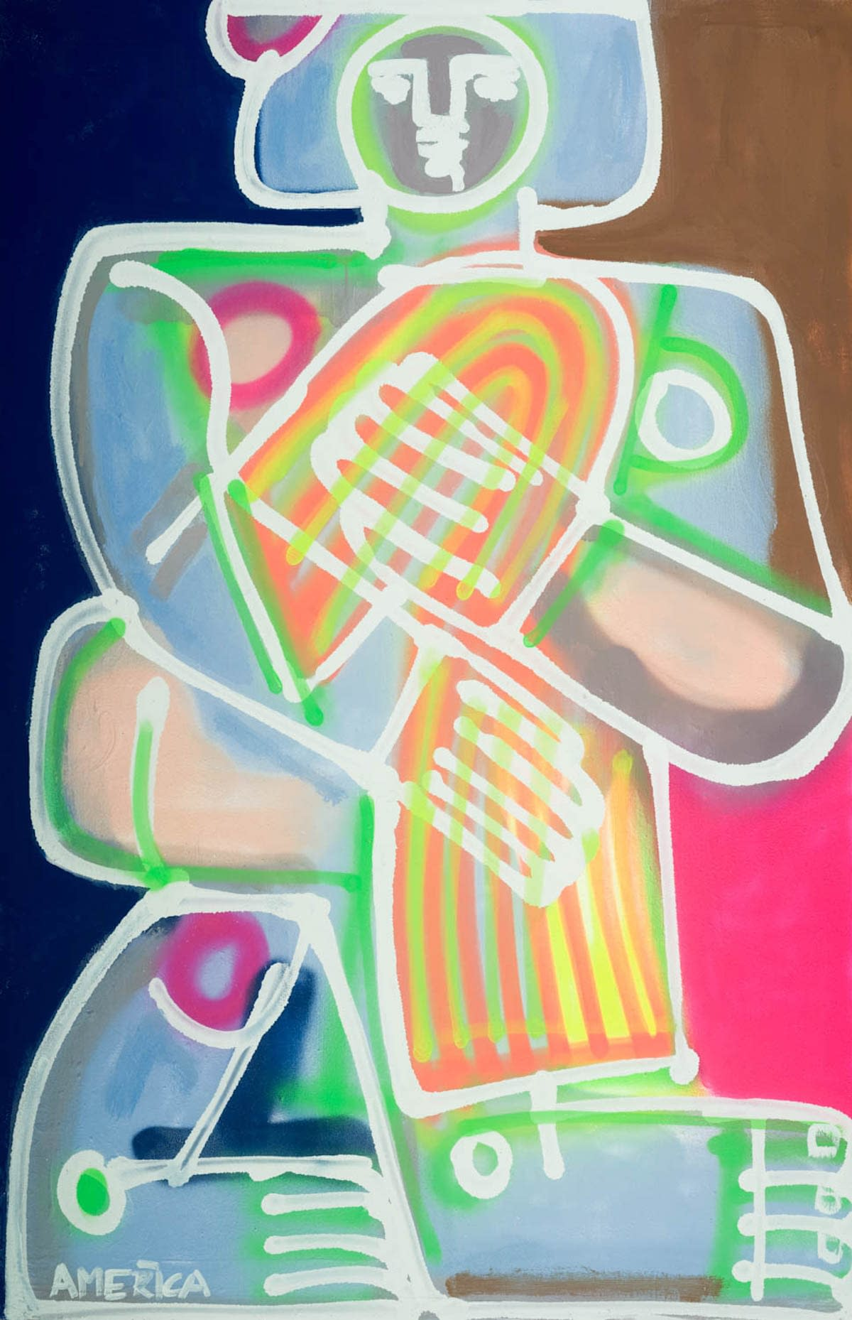 Woman_with_Orange_and_Yellow_Towel-AcrylicSprayPaintCanvas-70.5×46.5-15k