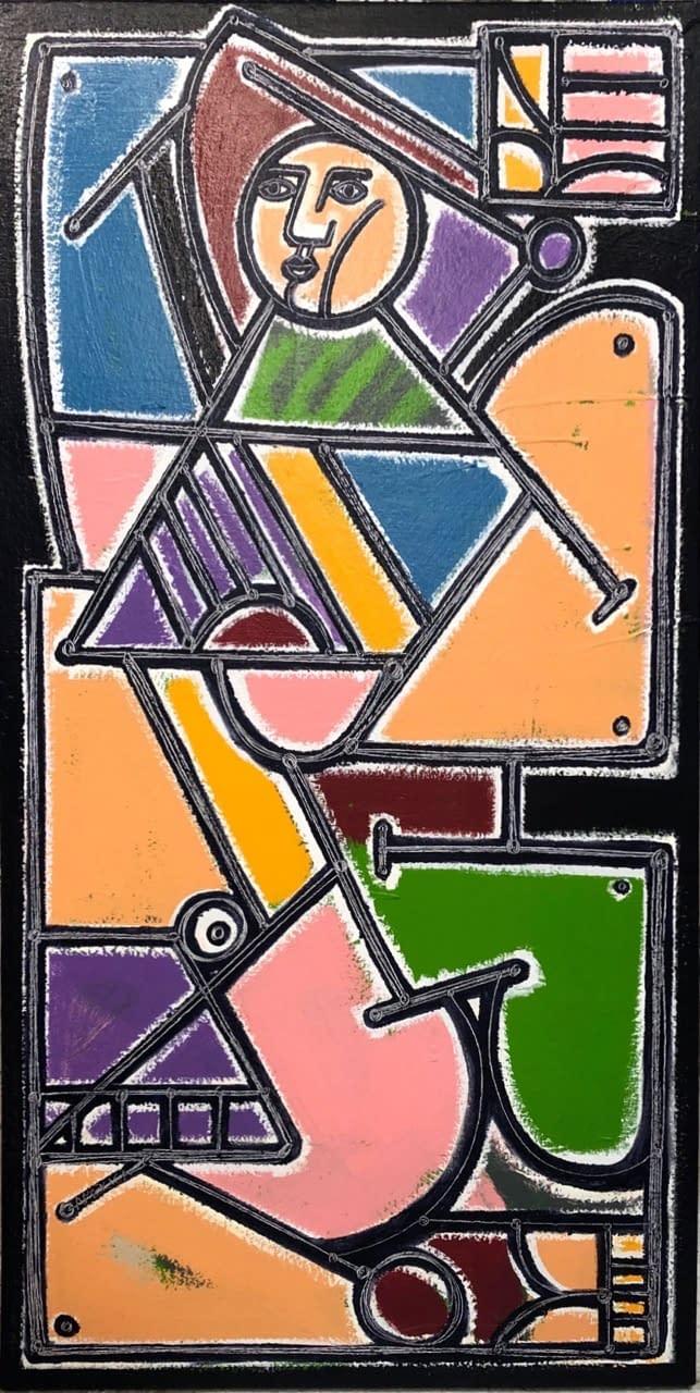 WomanintheSunandShade-OilandAcryliconCanvas-58×29.5